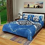Trade Star Exports Indian Shibori Bedspread, Indigo Bed Cover, Tie Dye Queen Bedding Set, Handmade Cotton Bed Sheet 2 Pillow Cases (Pattern 1)