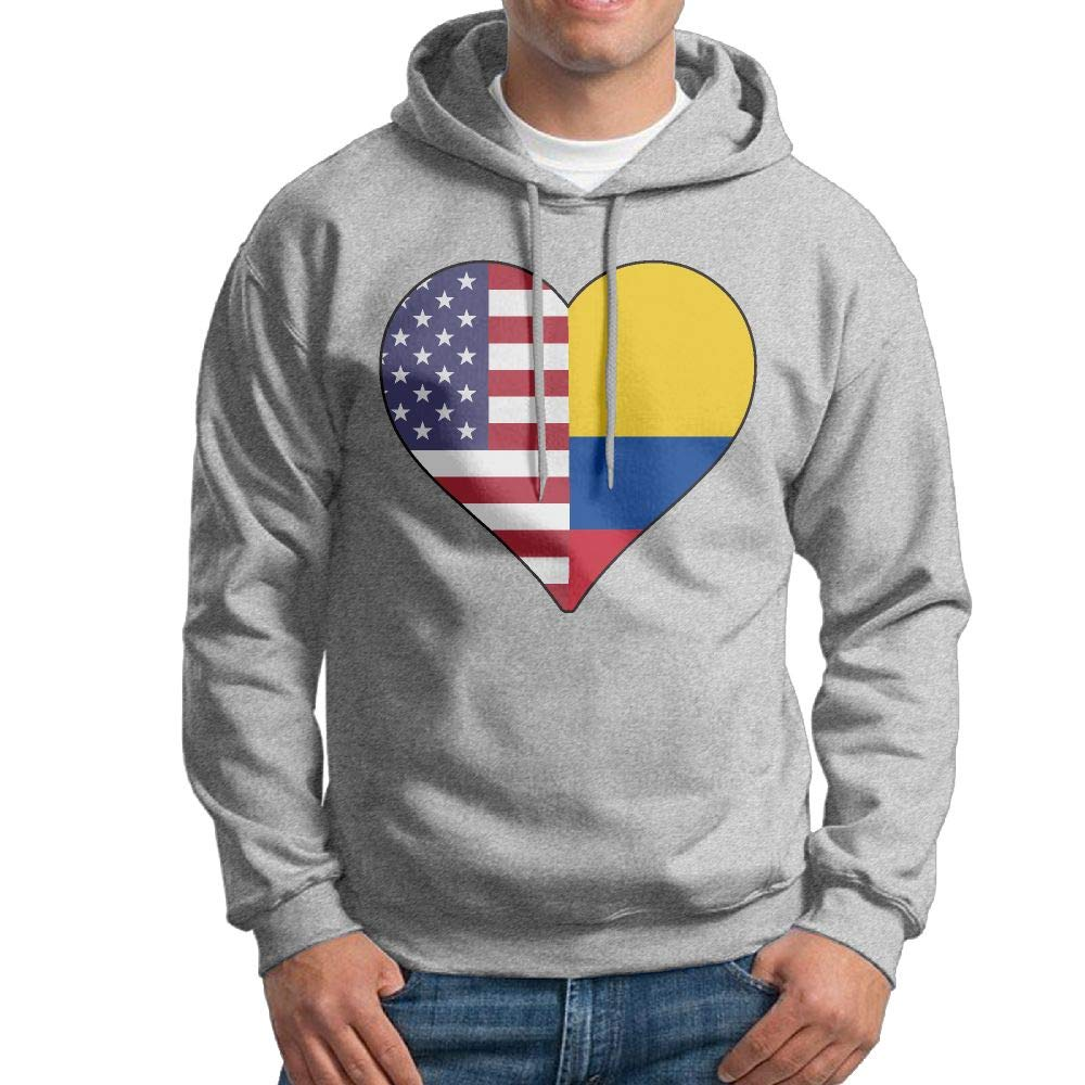 Boys Half Colombia Flag Half USA Flag Love Heart Patterns Print Athletic Pullover Tops Fashion Sweatshirts