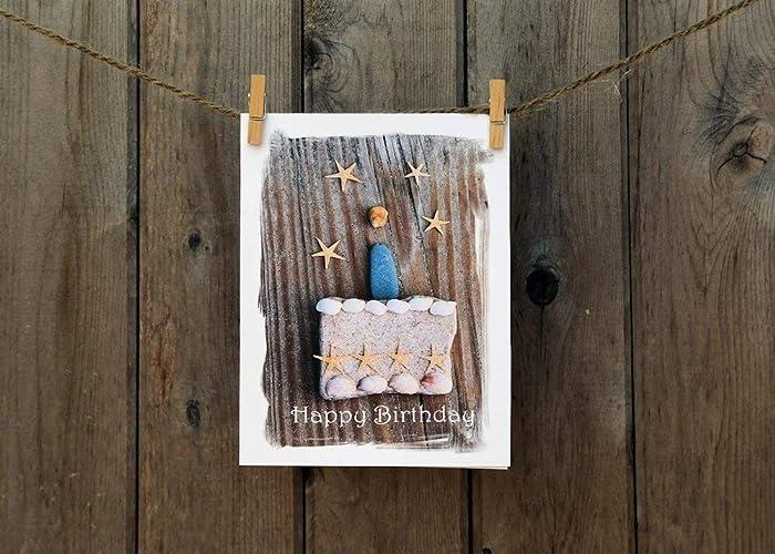 Amazon Happy Birthday Card Set Beach Theme Stone Art Cards Handmade