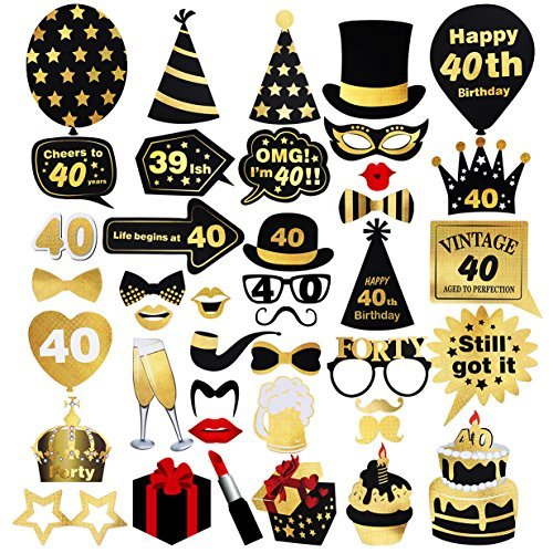 Unomor 40th Birthday Photo Booth Props (42Pcs) for Gold and Black Birthday Party Supplies, 40th Birthday Decorations Supplies for Men and Women ()