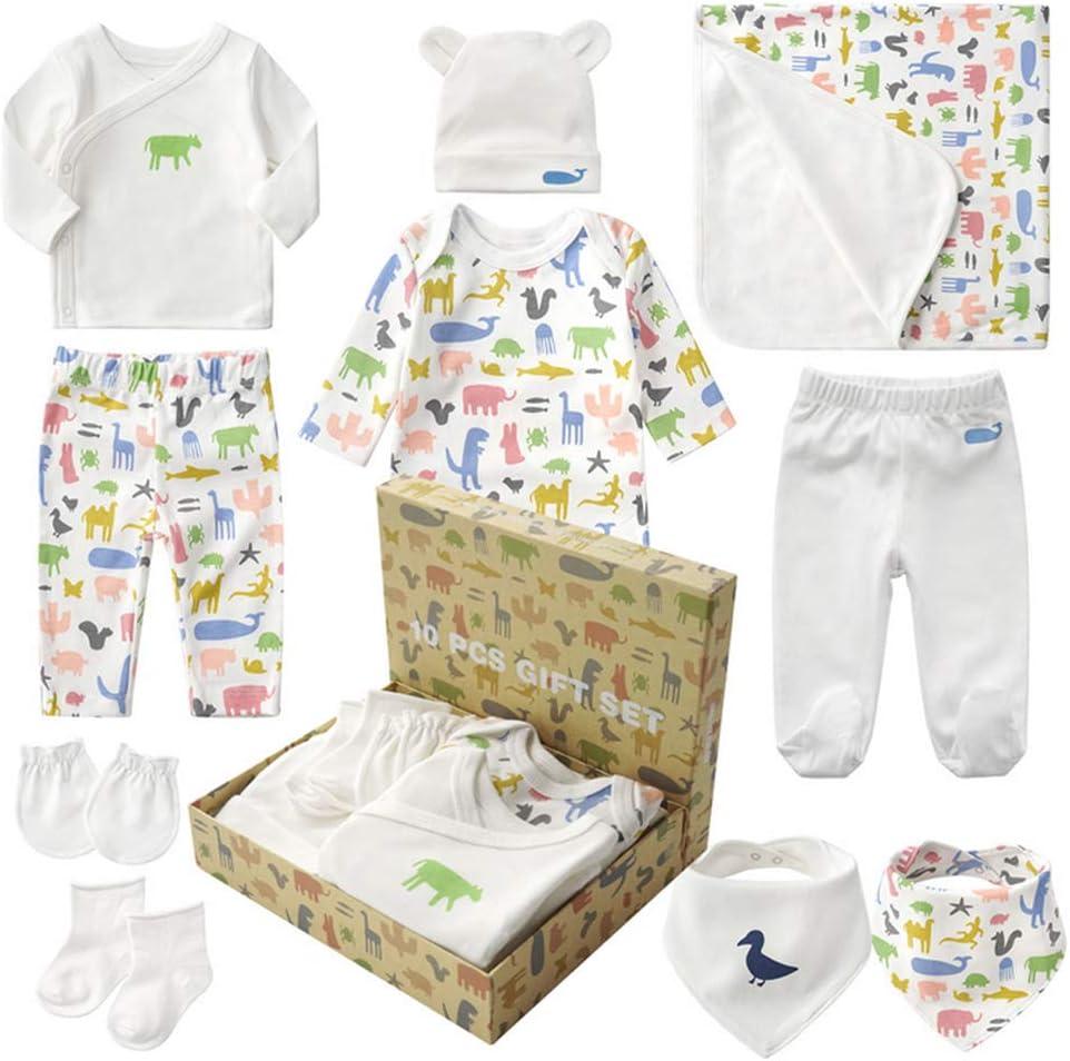 Sets de Regalos para Recién Nacidos Baby Ropa de Equipo Inicial de Regalo para Baño con 10 piezas para Niños Pequeños Niñas (Animal, Sin Sexo)