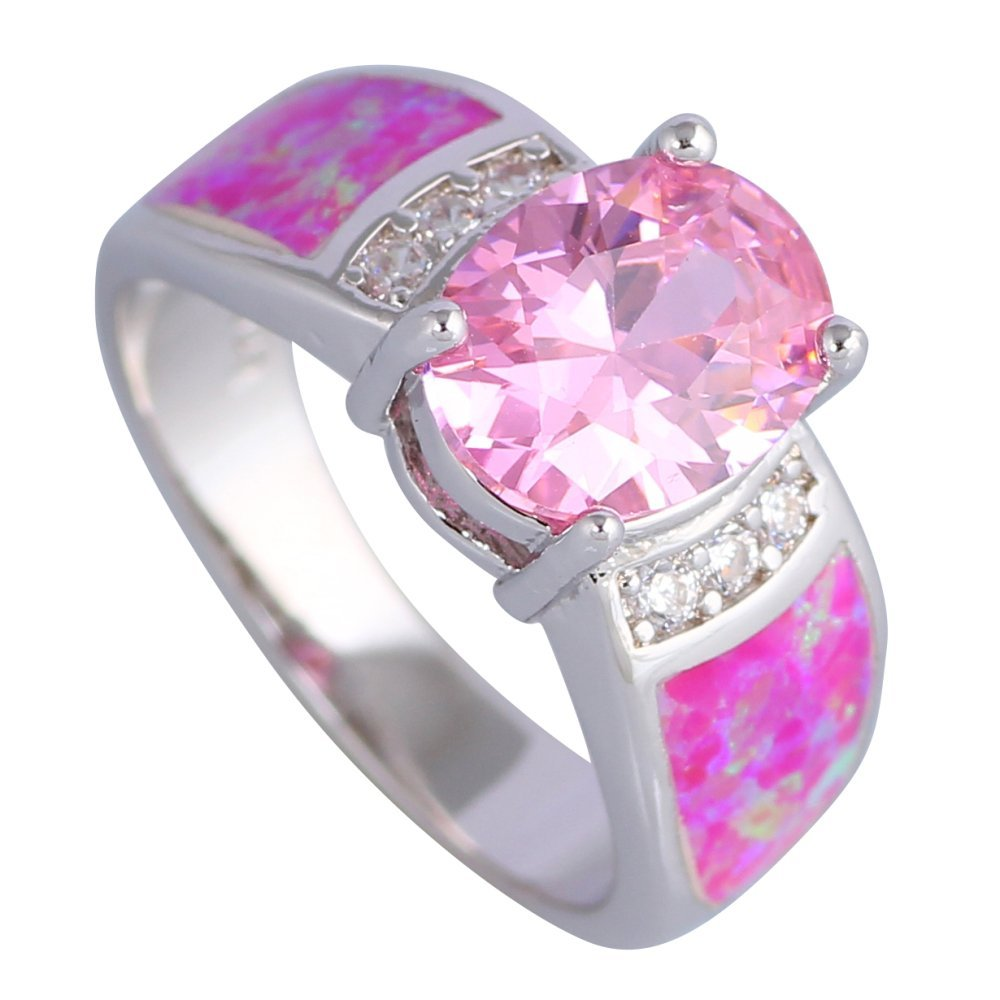 Silver and Pink Rings: Amazon.co.uk