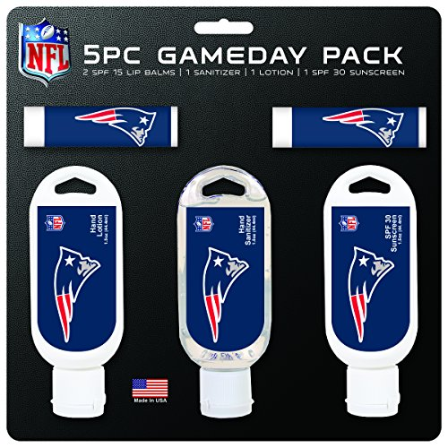 (NFL New England Patriots Game Day 5-Pack with 2 Lip Balms, 2 Hand Sanitizers, 1 Hand Lotion)