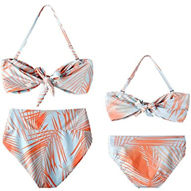 18268abc9e Amazon.com: Family Matching Mommy and Me Baby Girls Lady Leaf Floral Print  Halter Summer Swimwear Swimsuit Bikini Outfits Set: Clothing