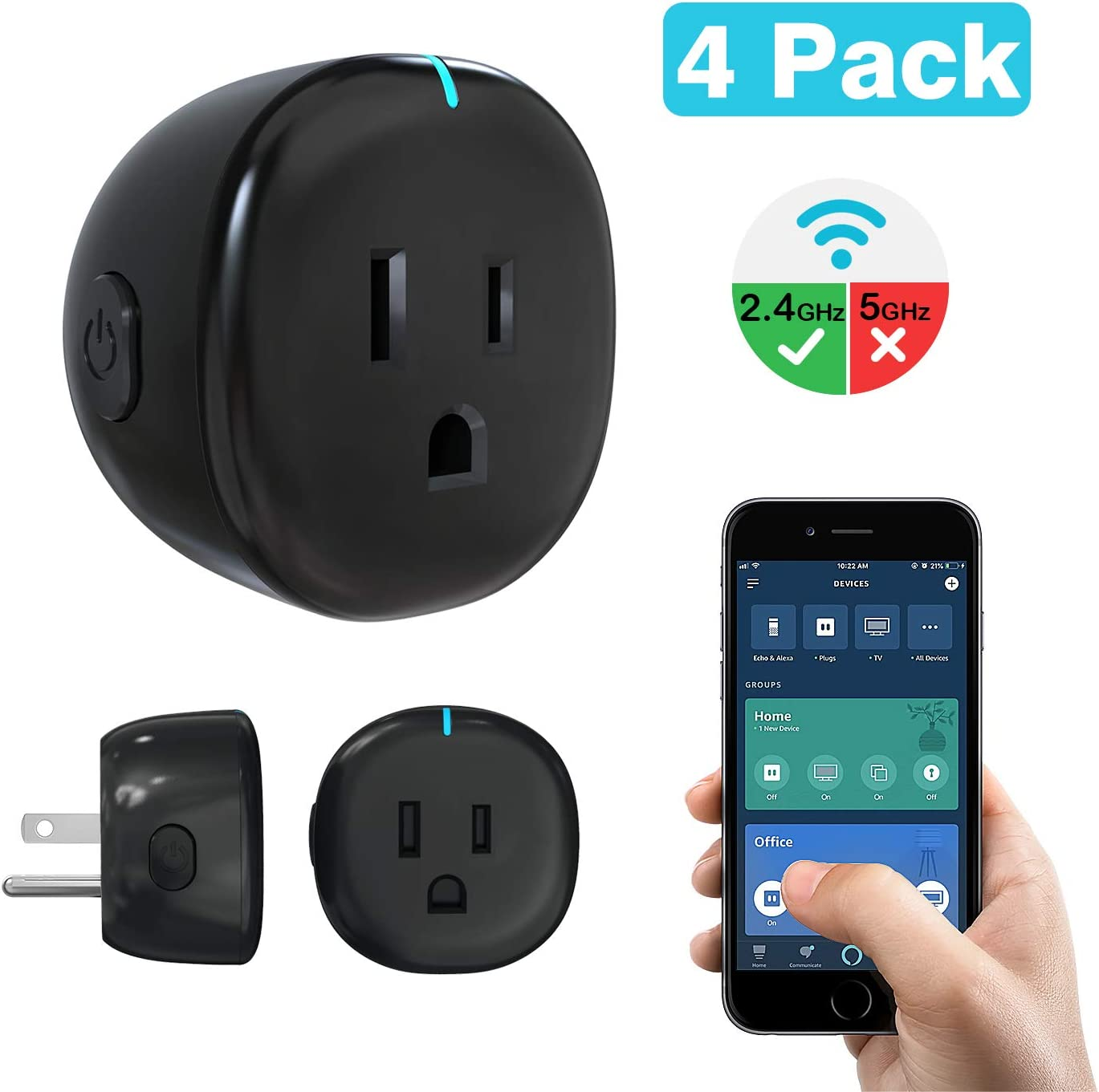 MoKo Wifi Smart Plug, [4 Pack] Mini Wifi Outlet Mini Socket Work with Alexa Echo, Google Home, APP Remote Control Timer Plug, 10A Only Supports 2.4GHz Network No Hub Required, Black