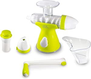 Juice Buddy 2 in 1 Manual Hand Crank, At Home Easy Clean, Ice Cream Maker and Juicer, with Suction Counter Mount