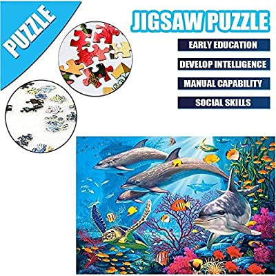 Jigsaw Puzzles,HANDSKIT Ocean Dolphin 1000 Pieces Puzzle Coral Fish World Dolphin Sea Animals Puzzles for Adults and Kids Education Toy Games Home Decoration: Toys & Games
