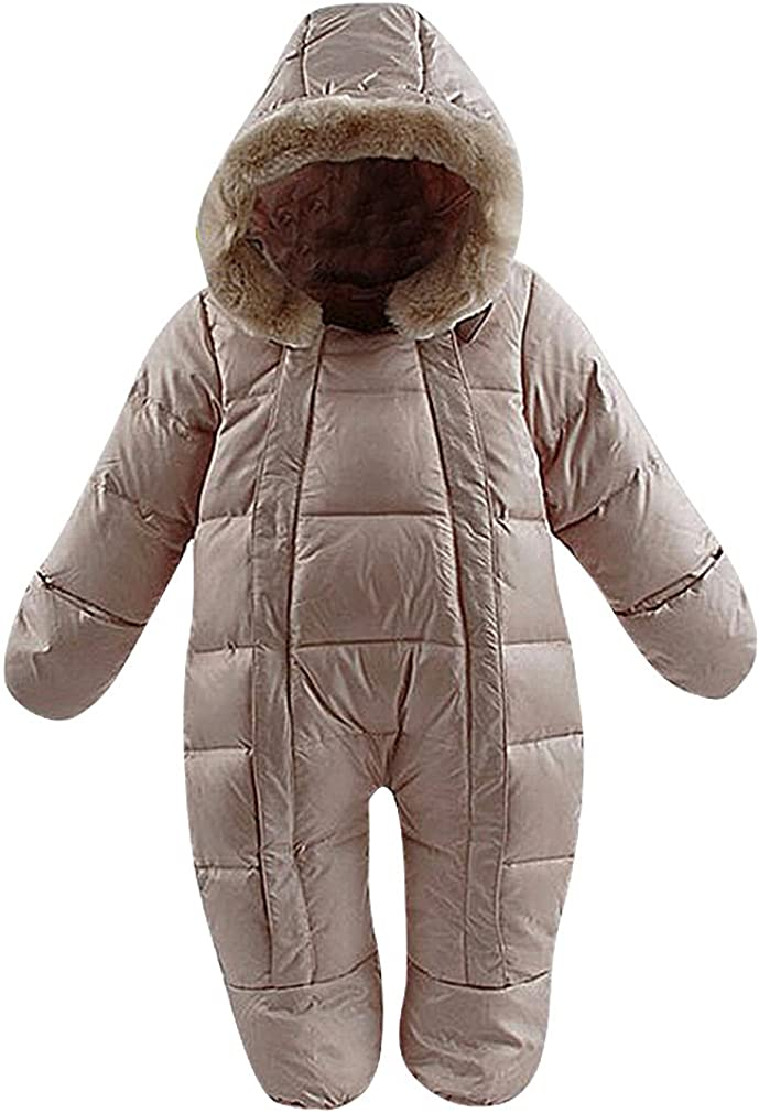 BPrince Babies Quilted Fleece Fur Lined Hood Down Snowsuit with Gloves /& Shoes