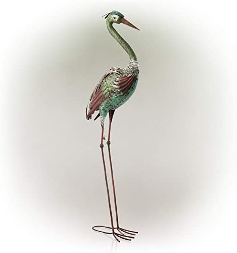 Alpine Corporation HEH208 Metallic Crane Statue Outdoor Garden
