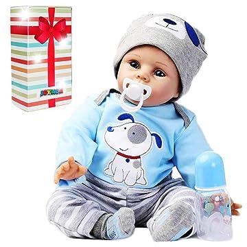 JOYMOR 22 Inch Reborn Baby Doll Birthday Gift Vivid Real Looking Dolls Full Silicone Vinyl Lifelike Realistic Child Growth Partner Washable Soft Body Lovely Simulation Fashion
