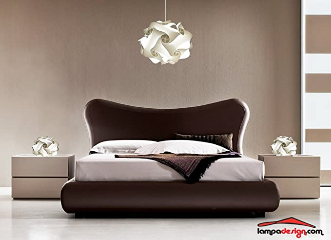 Bellissimo Set illuminazione moderna camera da letto LAMPADARIO design  moderno UFO 50 cm + 2 lampade da comodino comò FIOCCO Abat jour di design  ...