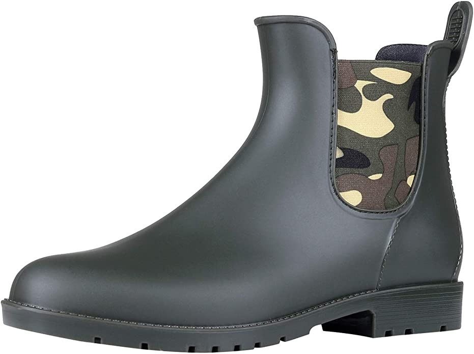 Women's Ankle Rain Boots Waterproof Chelsea Boots Camouflage