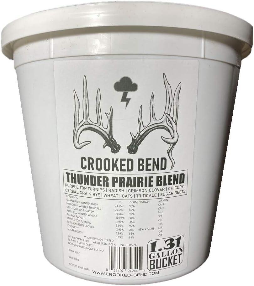 9lb Whitetail Deer Food Plot Seed | Turnip Radish Sugar Beet Clover Chicory Cereal Grain Rye Wheat Triticale Oats Mix | Thunder Prairie Blend