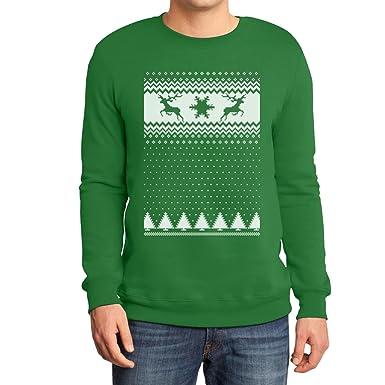 Schöner Weihnachtspullover Rehntiere im Schnee Sweatshirt Small Grün