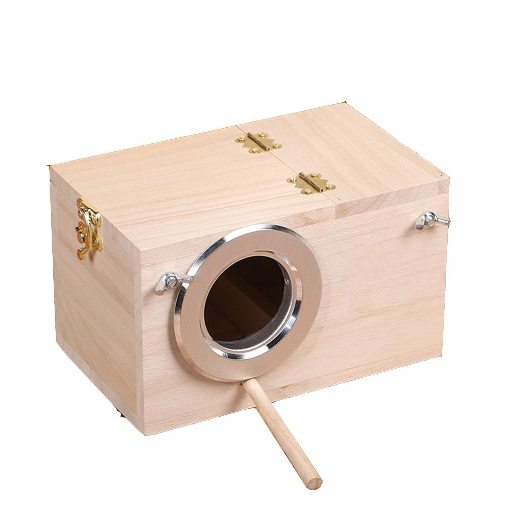 COFREE Handmade Nesting Breeding Brooding Bird House Box, Natural Wood Chick Brooder for Budgerigar Parakeet and Other Small Animals (7.94.74.7 inch) by COFREE