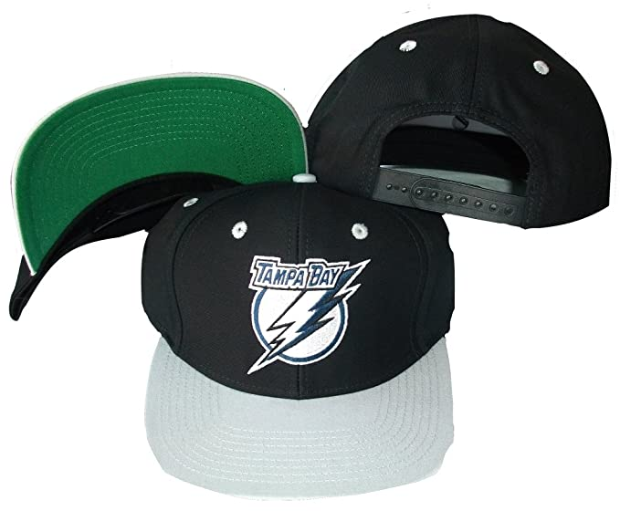 Amazon.com   Tampa Bay Lightning Black Silver Two Tone Snapback Adjustable  Plastic Snap Back Hat   Cap   Sports Fan Baseball Caps   Clothing ef4bba1b218f