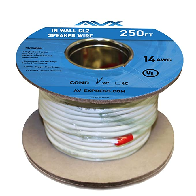 Amazon.com: AVX Audio - 250 Feet 14 AWG CL2 Rated (For In-Wall Usage ...