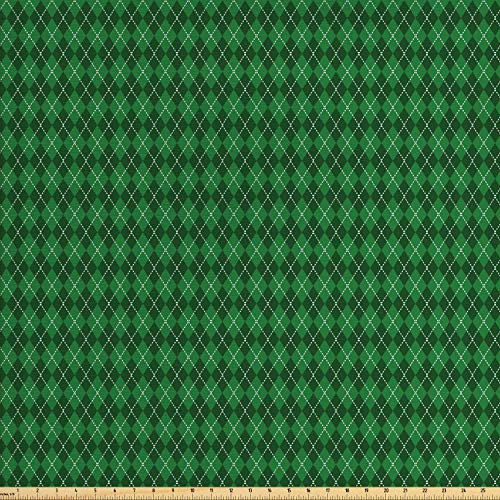 Ambesonne Irish Fabric by The Yard, St. Patrick's Day Celebration Inspired Vintage Pattern Argyle Tartan Dots, Decorative Fabric for Upholstery and Home Accents, 2 Yards, Green White