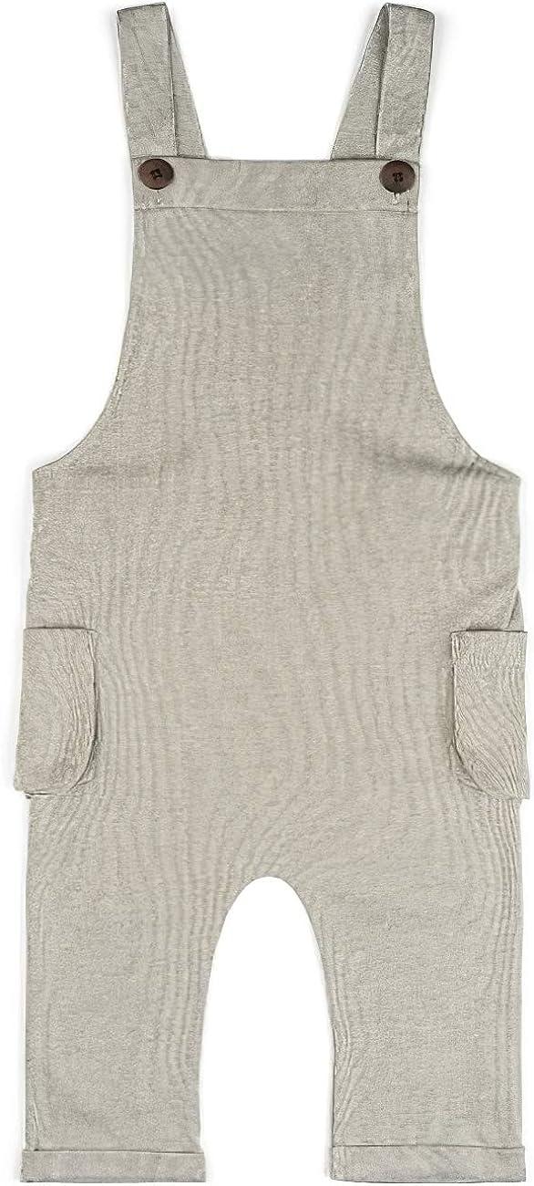 MilkBarn Baby Overalls Grey Stripe Organic Cotton
