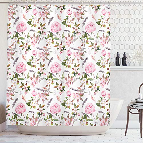 Ambesonne House Decor Collection, Rose and Cherry Flowers Blossoms Feathers Shabby Classical Botanic Retro Image Print, Polyester Fabric Bathroom Shower Curtain Set with Hooks, Pink Gray Green