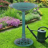 unbrand Green Pedestal Bird Bath Feeder Freestanding Outdoor Garden Yard Patio Decor