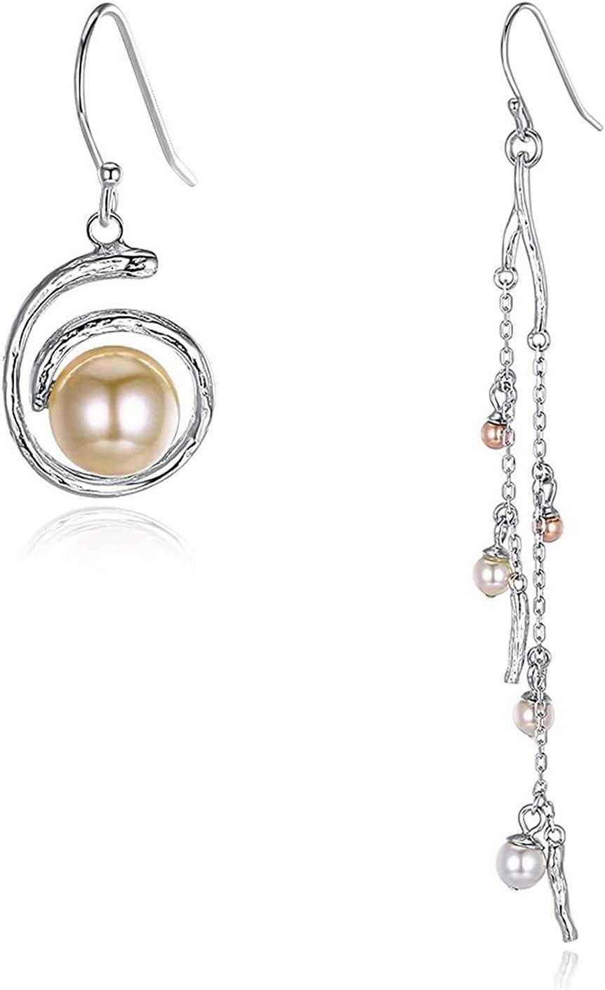 TIANYOU Joyas de novedad - Pendientes de plata esterlina para las mujeres Damas Perlas de imitación cuelgan los pendientes de plata asimétrica