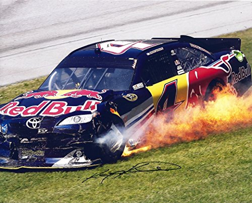 Kasey Kahne Memorabilia - AUTOGRAPHED 2011 Kasey Kahne #4 Red Bull Racing Team FIREBALL WRECK 8X10 Signed Picture NASCAR Glossy Photo with COA