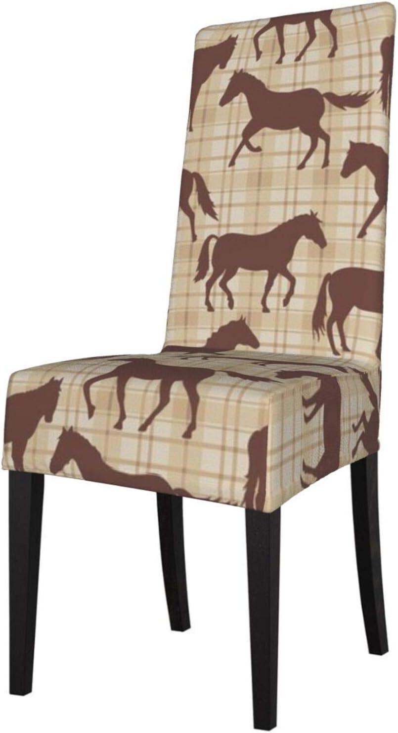 Feamo Funda elástica para silla de comedor, diseño de caballos, color marrón a cuadros, para silla de comedor, silla de silla, protectores de silla para hotel, ceremonias, fiestas y mascotas