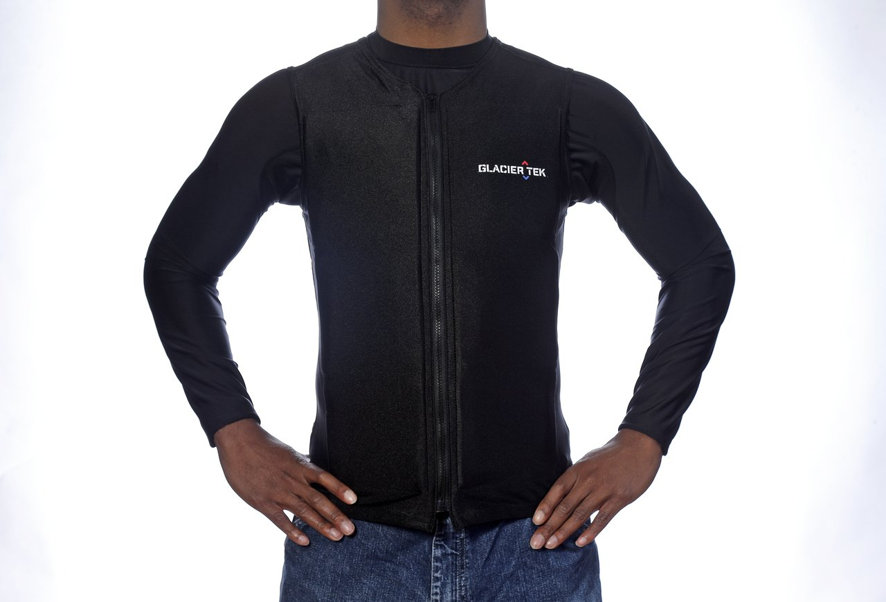 Flex Vest Cool Vest with Nontoxic Cooling Packs Black Medium (Chest Size 36-42) by Glacier Tek (Image #1)