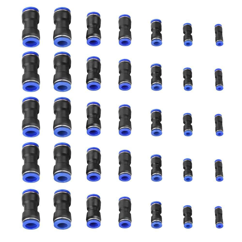 16mm Luftschlauch Pneumatische Armaturen f/ür die schnelle Verbindung von Luftleitungen Akozon Pneumatische Schnellbefestigungen 35Pcs gerader Stecker Luftsto/ß OD 4//6//8//10//12//14 Druckluftwerkzeuge