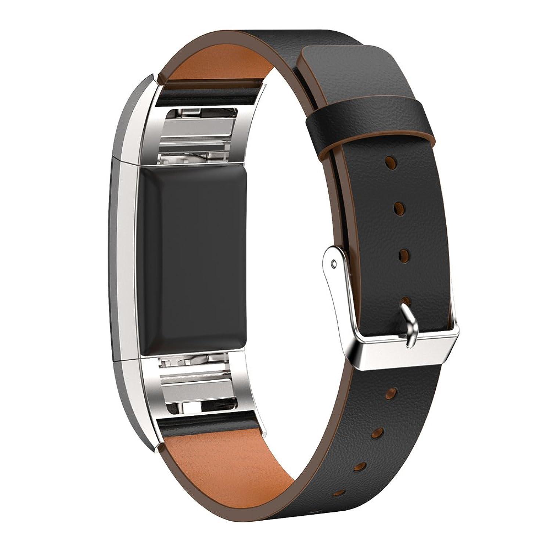 交換用本革バンドブレスレットfor Fitbit Charge 2 by d.b. Moodブラック  B01N1M3PIO