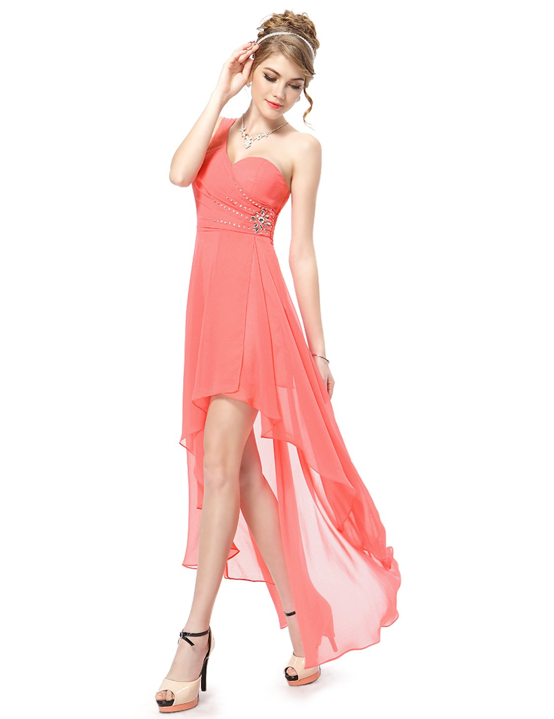 Coral, 16US, Ever Pretty Long Summer Dresses For Women 08100