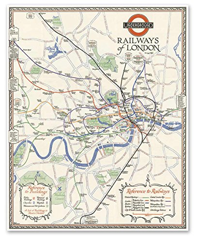 Underground Railways of London MAP circa 1928 - measures 24