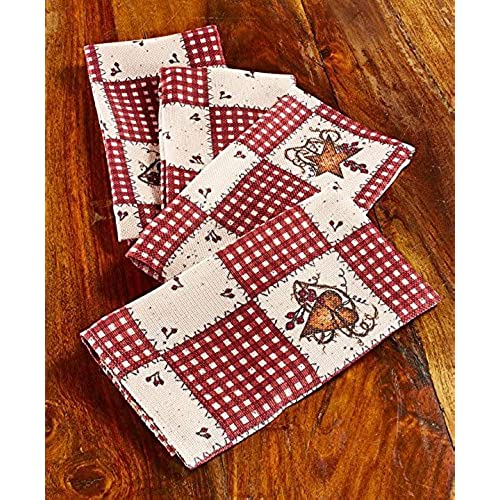 Linda spivey kitchen decor table cloth linens primitive country hearts stars tablecloth or napkins kitchen collection set of 4 napkins