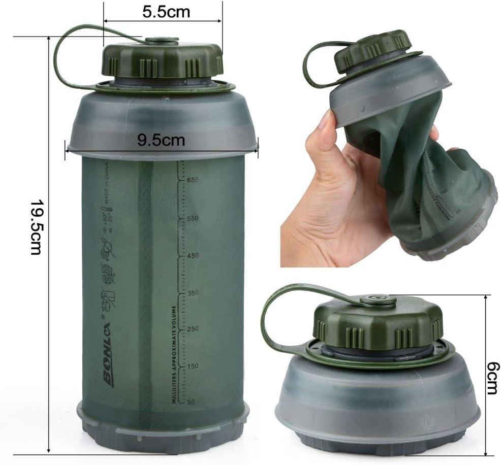 "å""牌å Botella de Agua Plegable de Silicona de Grado médico, sin BPA, Enrollable, 26 oz, a Prueba de Fugas, para Deportes y al Aire Libre"