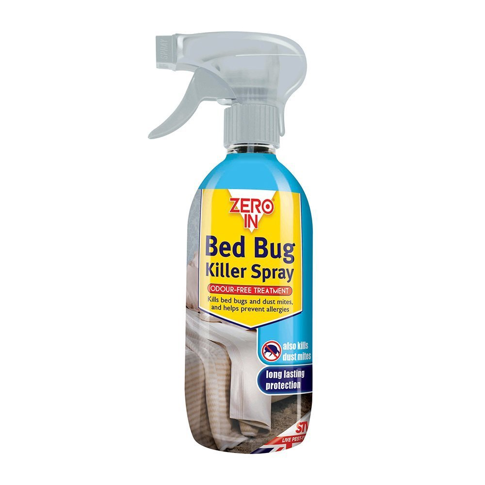 2 X Zero In Bed Bug Killer Spray (Long-lasting, Solvent-Free, Odourless, Water-Based Household Treatment, Kills Bed Bugs and Dust Mites), 500 ml - Clear STV International