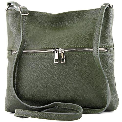 modamoda de -. borsa in pelle ital signore borsa a tracolla di crossover Cartella in pelle T144, Präzise Farbe (nur Farbe):ArmeeGrün