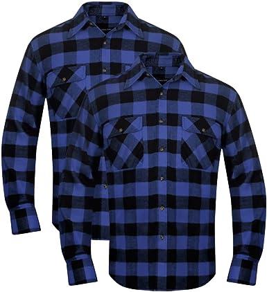 vidaXL 2 Camisas de Trabajo de Franela tartán a Cuadros Azul-Negro para Hombre Talla M: Amazon.es: Ropa y accesorios