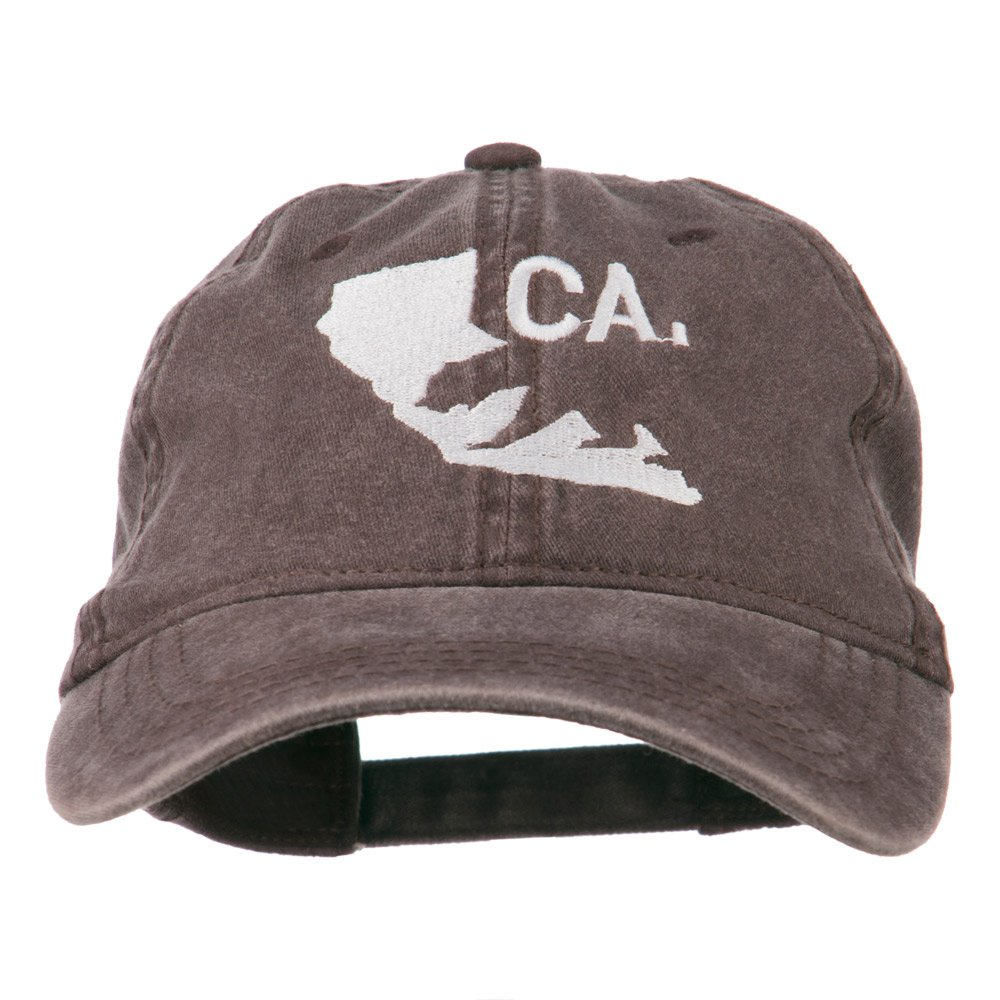 e4Hats.com CA Map with Bear Embroidered Washed Cap