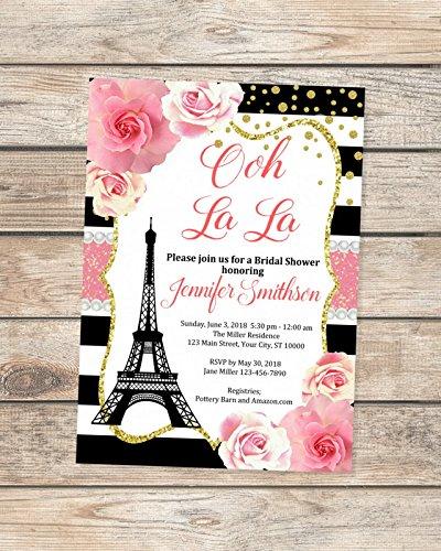 Paris Bridal Shower Invitations, Floral Stripes Bridal Shower Invitations, Eiffel Towel French Bridal Shower Invites, Parisian Shower Invitations -