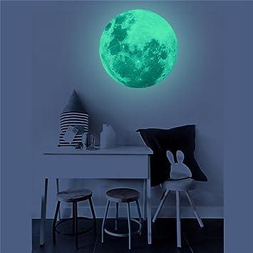 Lumineux Autocollant De Lune, Hunpta 30 Cm 3d Grande Lune Fluorescent Sticker  Mural Amovible Glow
