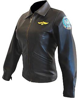 Kelly McGillis Top Gun Black Fashion Real Leather Women/'s Military Style Jacket