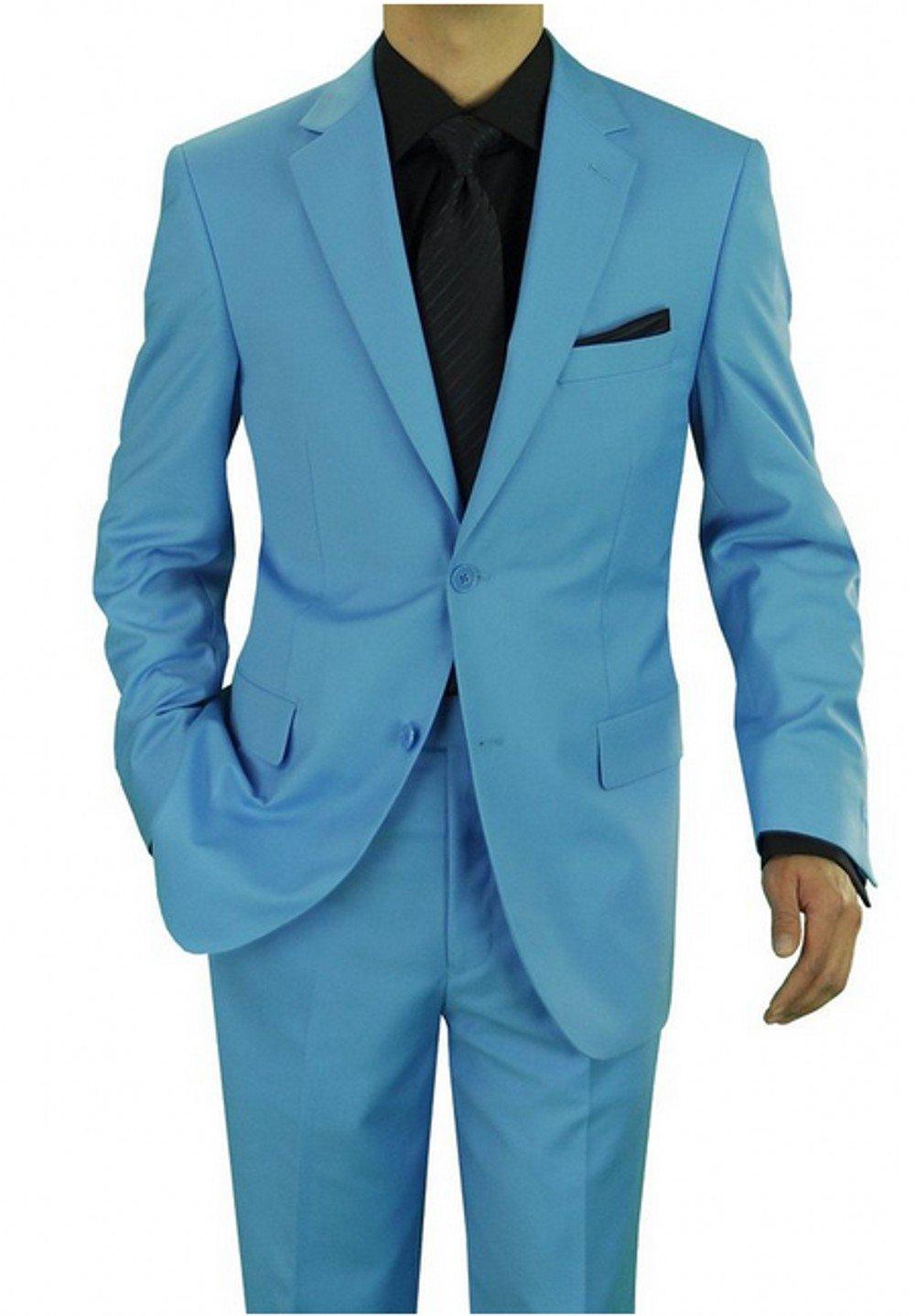 Love Dress Men's Two Button Suit Sky Blue - Includes Jacket and Pants XXXXXXL