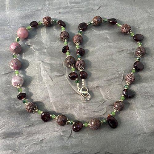 Long asymmetrical stone necklace Rhodonite garnet tourmaline 20