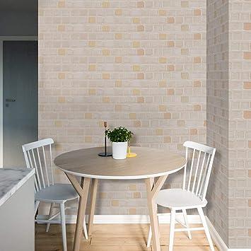 HyFanStr Dekor Fliesenaufkleber selbstklebend Backsteinmauer Tapete Küche  Bad Wandaufkleber Fliesendekor 20cm x 500cm