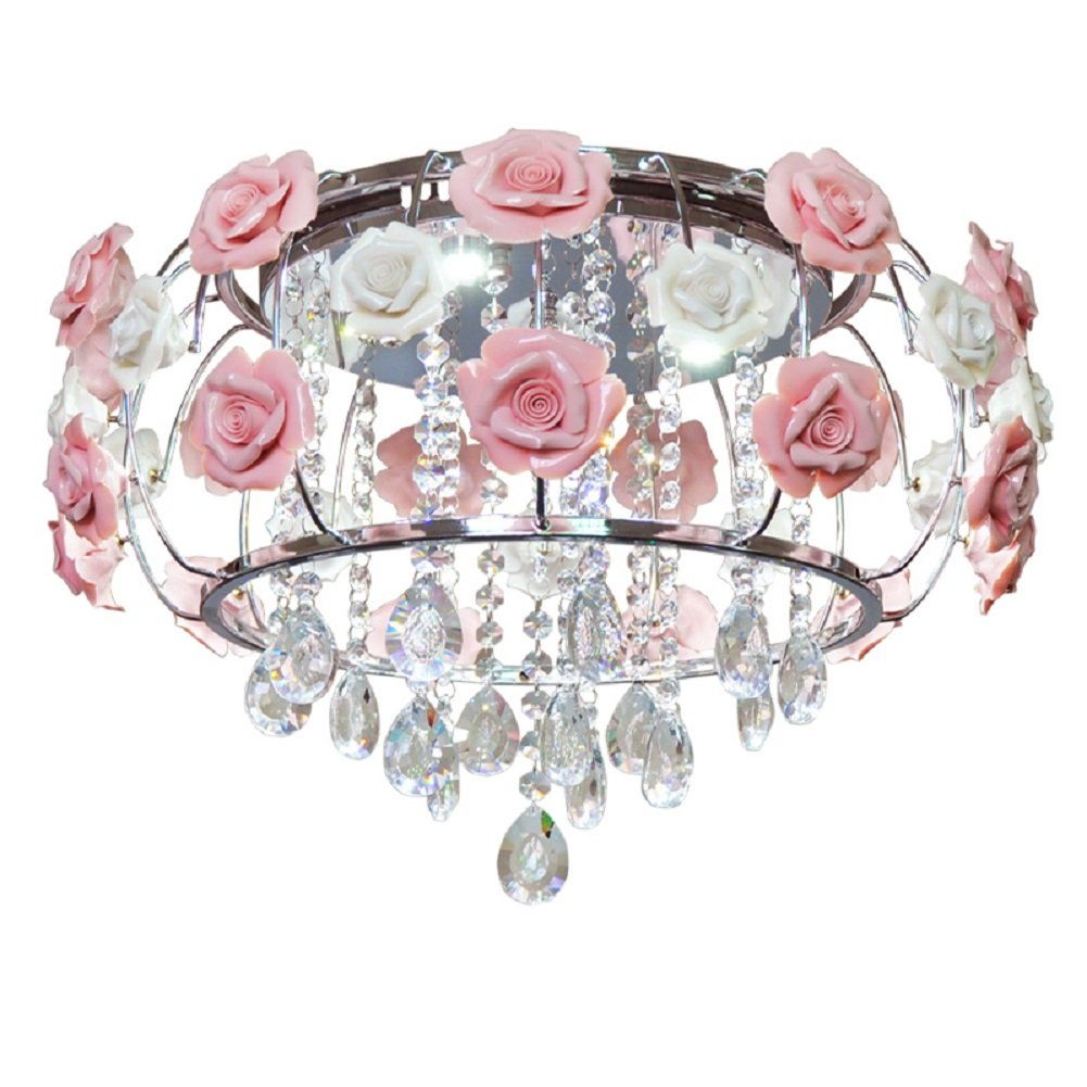 LgoodL Gypsy Pink Flowers Crystal Chandeliers Idyllic Garden Living Room Lighting Modern Wrought Iron Rose Restaurant LED Crystal Ceiling Lamp 6 Lights Dia 18.9''