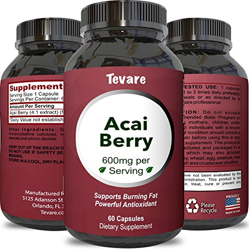 100% Pure Natural Acai Berry Weight Loss Supplement Detox Products Anti-Aging Antioxidant Superfood Cleanse and Burn Fat Improve Health Boost Energy Cardiovascular Health and Digestion by (Acai Berry Cleanse)