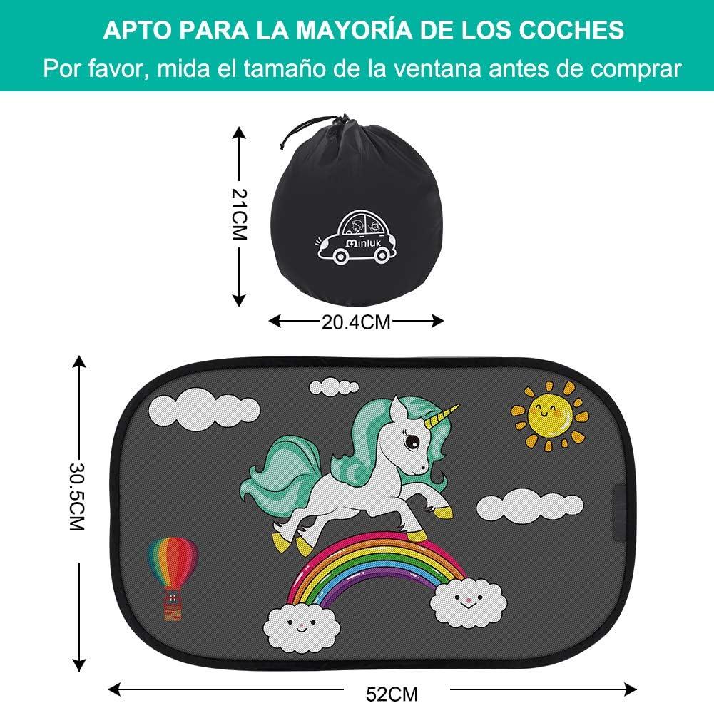 RIRGI Parasol Coche Bebe Parasoles Autoadhesivo para Proteger del Sol a Beb/és y Mascotas Negro Parasol Coche Infantil Lateral Bloqueo de Rayos UV Nocivos 2 Unidades 52x30.5CM