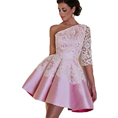 Ruiyuhong One Shoulder Pink Cocktail Dresses Short Lace Prom Dress Size 2