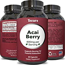 100% Pure Natural Acai Berry Weight Loss Supplement Detox Products Anti-Aging Antioxidant Superfood Cleanse and Burn Fat Improve Health Boost Energy Cardiovascular Health and Digestion by Tevare